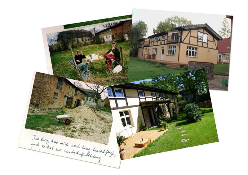 Collage Fachwerkhaus frueher und heute